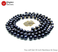 Qingmos Natural Pearl Necklace for Women with AA 6 7mm Round Black Pearl Long Necklace Jewelry & Gold Leaf Zircon Clasp ne6515