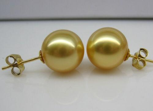 Mlle charme Jew00003 10 - 11 MM AAA + parfait mers du sud perle d'or boucle d'oreille 14 K