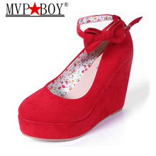 MVP BOY Women High Heels Shoes Plus Size Platform Wedges Female Pumps Elegant Flock Buckle Bowtie Ankle Strap Party Wedding