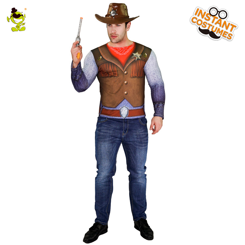 Adult Men's 3D Digital Printing T-Shirt Cowboy Costume Hot Sale Fancy Dress Handsome Male  Party Role Play Cowboy Costumes