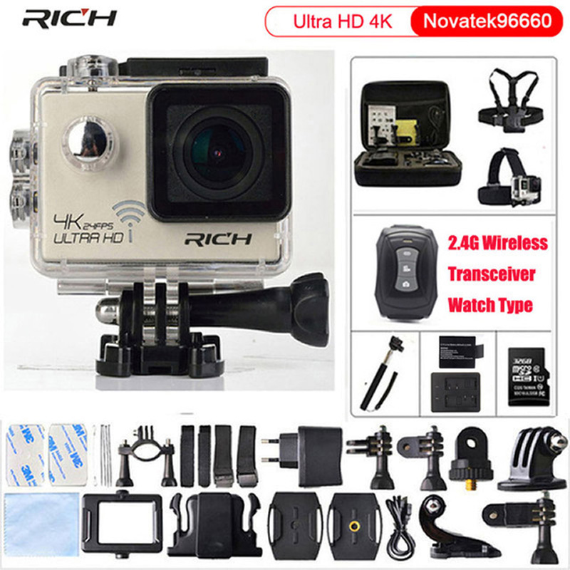 Action camera Ultra HD 4K 24fps gopro hero 4 stlye 16MP WiFi NTK96660 IMX078 170D Len Helmet Cam Waterproof 30m Sport Camera ntk96660 sjcam m20 wifi gyro sport action camera hd 2160p 16mp imx 206 bluetooth watch self timer lever remote control raw cam