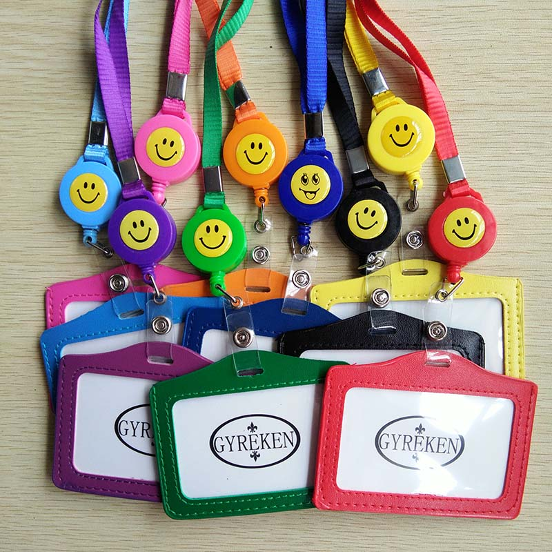 10pcs Lot Horizontal Smile Face Retractable Badge Reel Neck Lanyard ID Business Name Card Case Badge