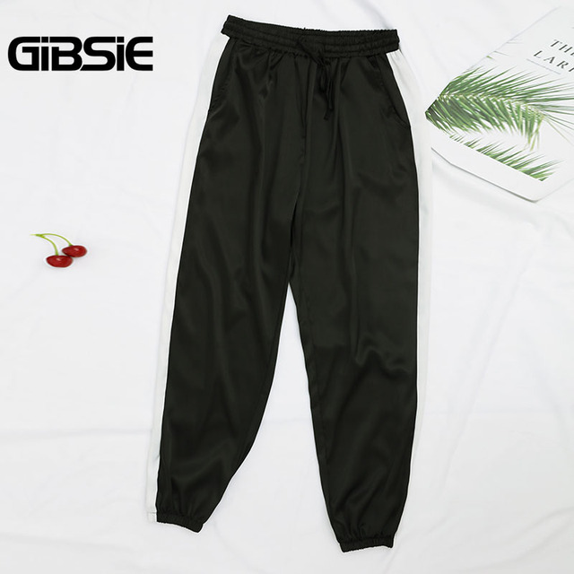 GIBSIE Plus Size Women Clothing 5XL 4XL 3XL Summer Color Block Satin Trousers Women Sweatpants Casual High Waist Harem Pants 1