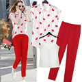 Women Summer Clothing Set Lips Print Fashion Short-Sleeved Shirt + Red Capris Clothing Set F202
