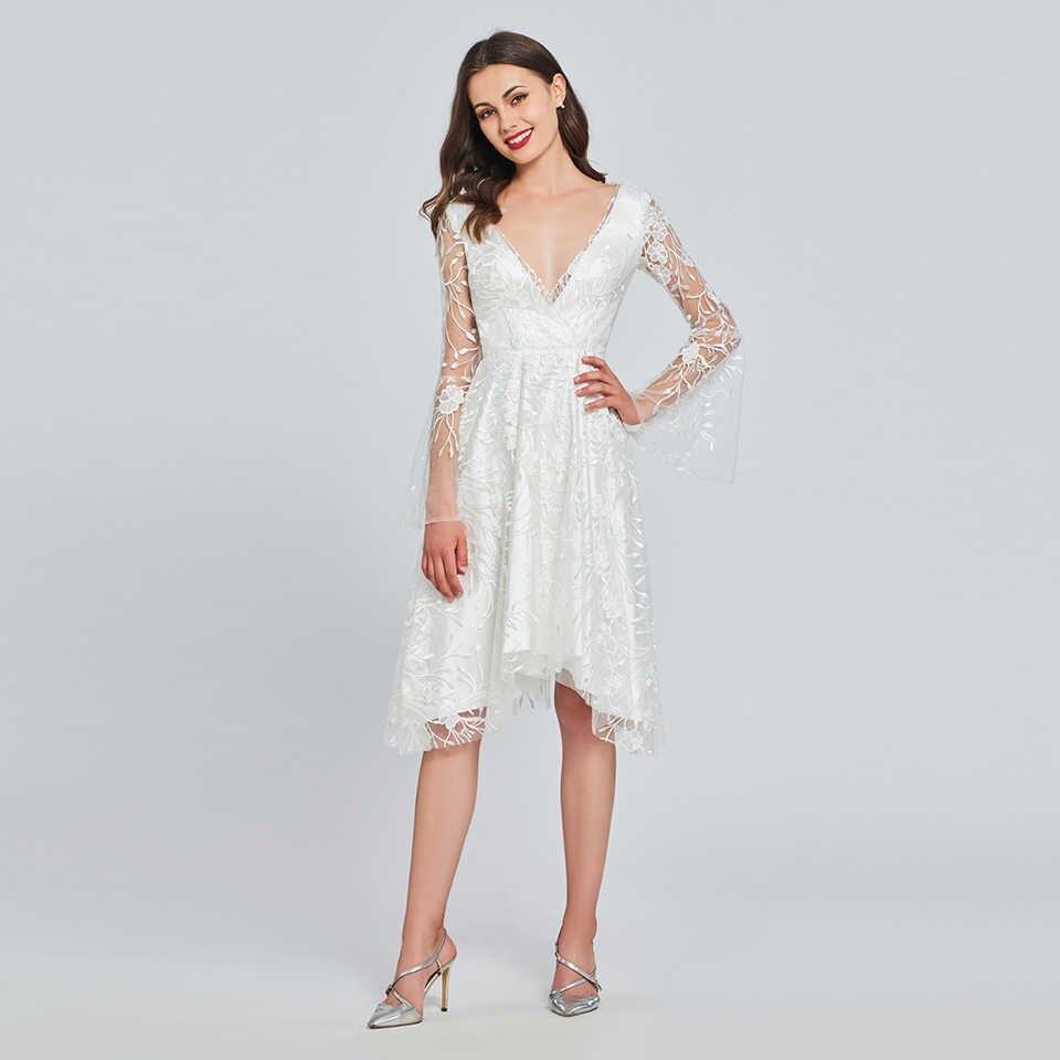 ... Dressv ivory lace a line cocktail dress v neck long sleeves wedding  party evening formal dress ... 331416fefe2a
