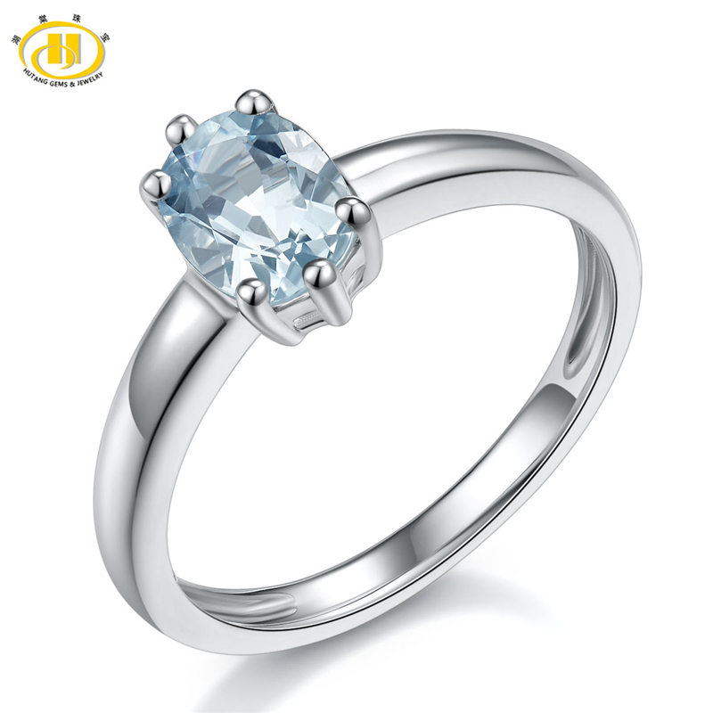 Hutang Solid 925 Sterling Silver Jewelry Fine 1.06ct Natural Aquamarine Solitaire Gemstone Rings for Women Punk Engagement Ring