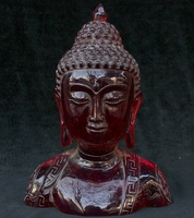 11 Tibetan Buddhism Amber Shakyamuni Sakyamuni Amitabha Buddha Head Bust Statue