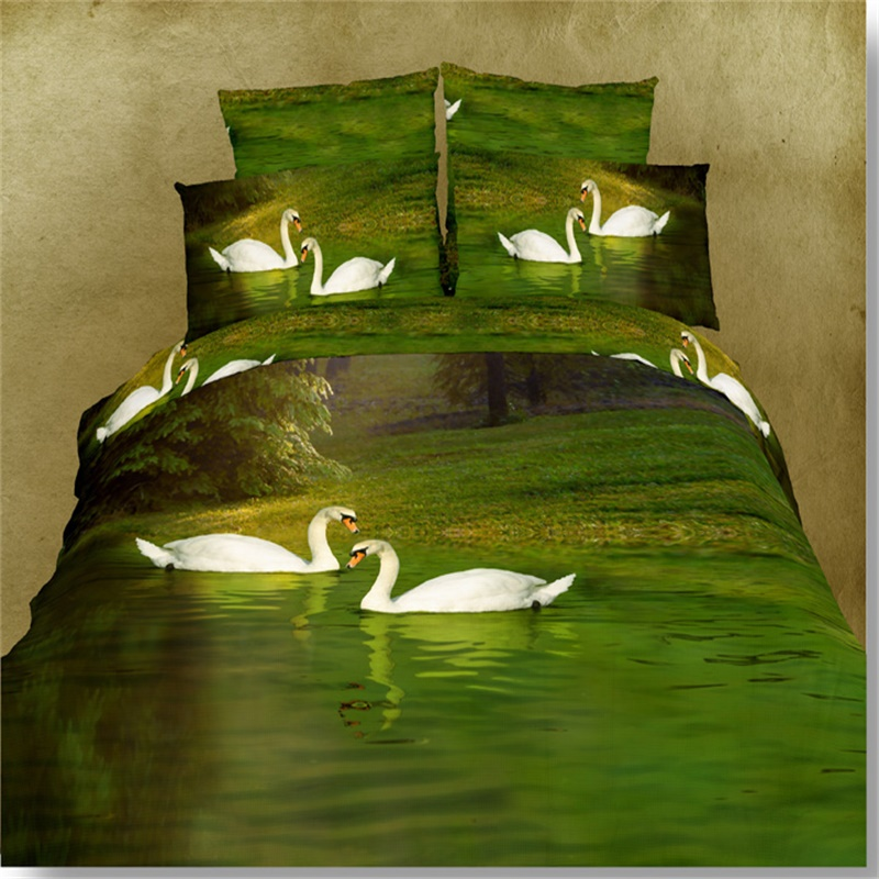 White Swan Green Water 3D Pattern Bedding Sets Queen Size Bedroom Set 4pcs  Good Quality Cotton Duvet Cover Bedsheet Pillowcase In Bedding Sets From  Home ...
