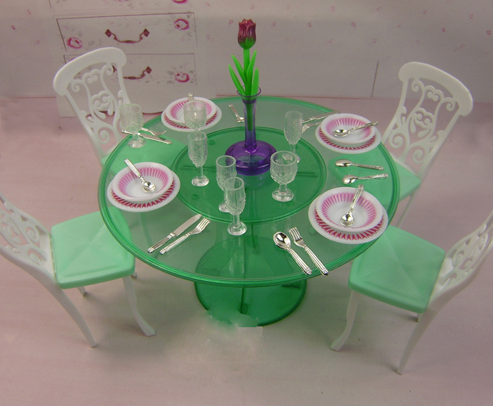 Girl gift/ christmas gift play toy dinner table set accessories for barbie doll bamboo dinner set