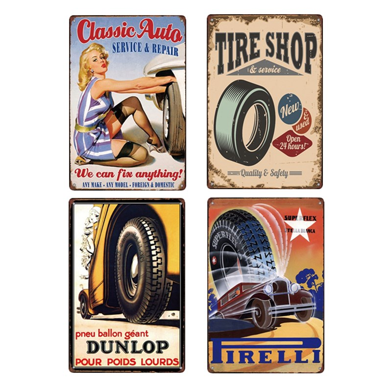 Tire Poster Old Painting Metal Sign Decoration Plaques Vintage Signs Car Garage Retro Decoration Home Decor 20x30cm Dropshipping signs