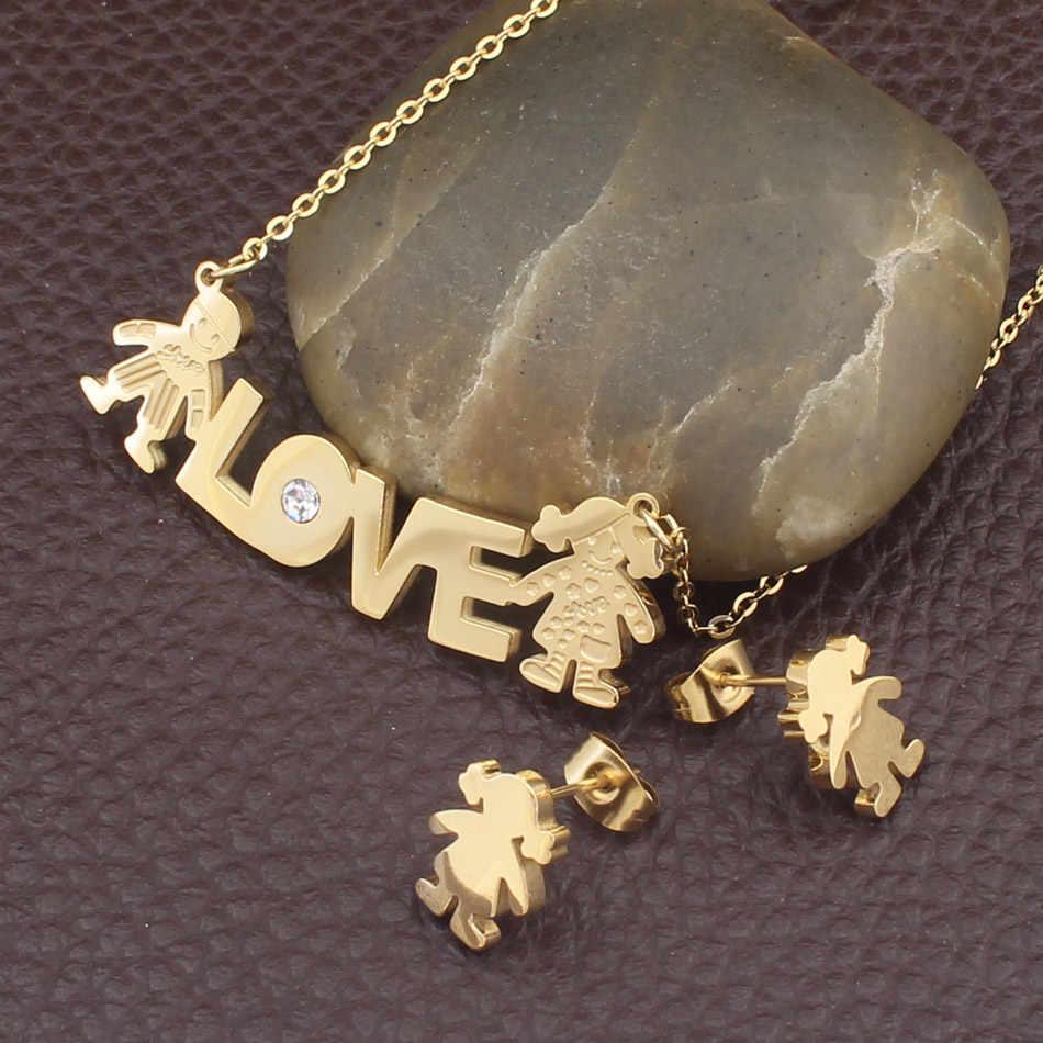 شكل جديد موضة مجوهرات من صلب لا يصدأ لون ذهبي قلادة و طقم أقراط للنساء بالجملة SGGIBCBG