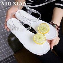 2017 Mignon D'été Femmes Gelée Sandales Gelée De Fruits Chaussures Femme plage Flip Flops Filles Cheville Sangle Sandales Talon Zapatos Mujer chaussures