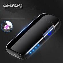 Inductieve Dubbele Arc Aansteker USB Oplaadbare Elektronische LED Power Display Aansteker Sigaret Plasma Palse Pulse Thunder Lichter
