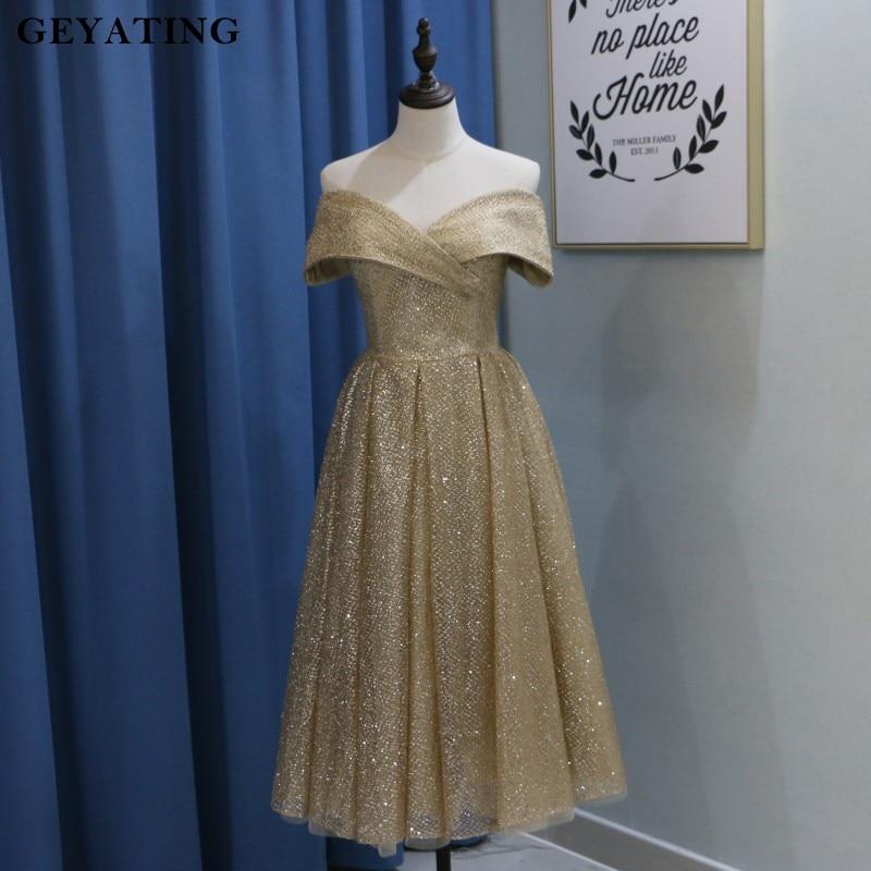 Glitter Champagne Gold Yousef Aljasmi   Prom     Dresses   2019 Off Shoulder Tea Length Party   Dress   Short Party Gowns Vestidos de festa