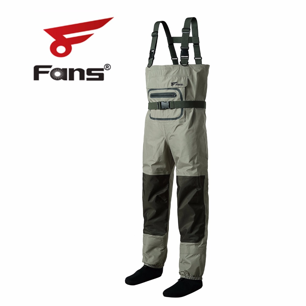 8 Fans Outdoor Fly Fishing Chest Waders Breathable Waterproof Stocking Foot
