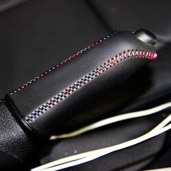 LS AUTO Top Cassa del cuoio genuino per la copertura del freno a mano del freno a mano Per BMW F30 316i 320i 328i primo strato di pelle copertura del freno a mano