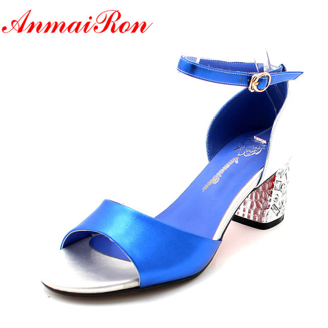 7034d6206189ab ANMAIRON Chunky Heels Leather Shoes Women High Heels Glitter Strappy Bling  Sandals Women Sexy Mixed Colors Blue Party Shoes
