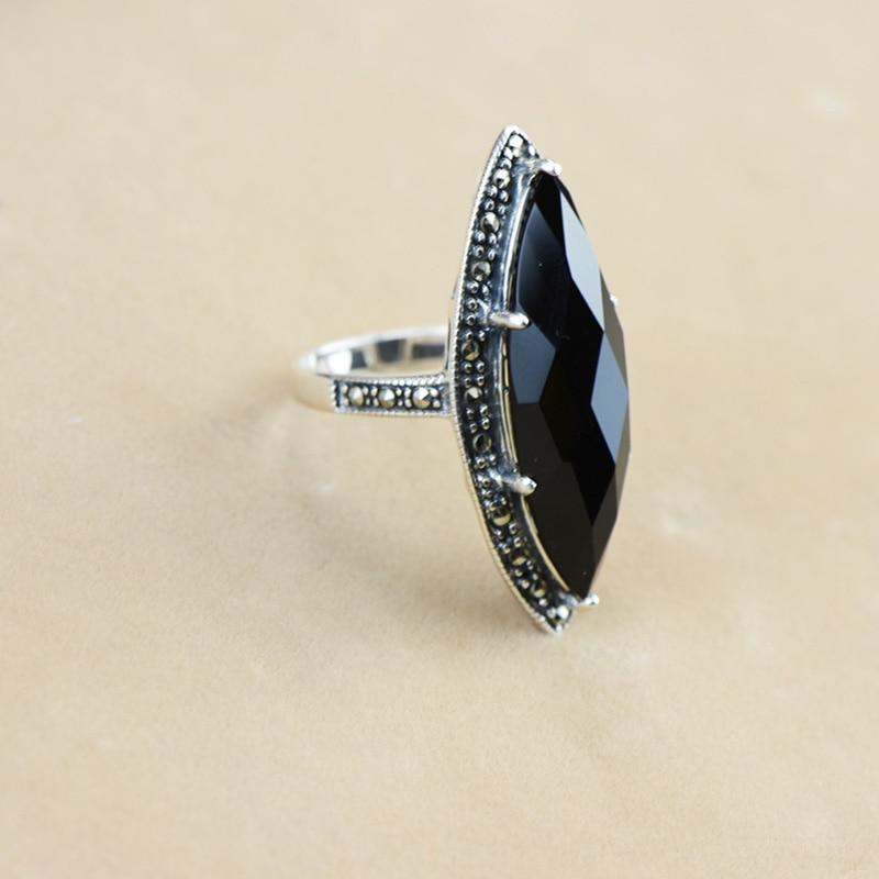 Garanti argent 925 bague Antique bagues pour femmes losange Agate noire pierre naturelle bijoux fins Anillos Mujer - 4
