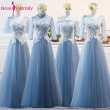Beauty Emily 2019 Fashion Blue Evening Dresses A-Line V-neck Off the Shoulder Lace Up Half Sleeve Formal Party Prom