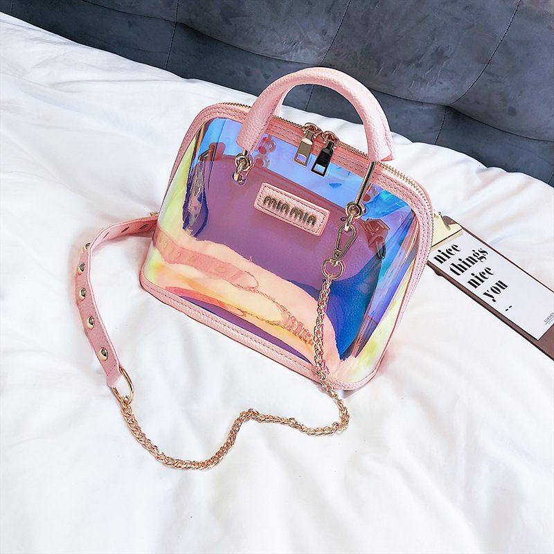 Luxury Handbags Shell-Bag Laser Jelly Clear Holographic Small Women PVC