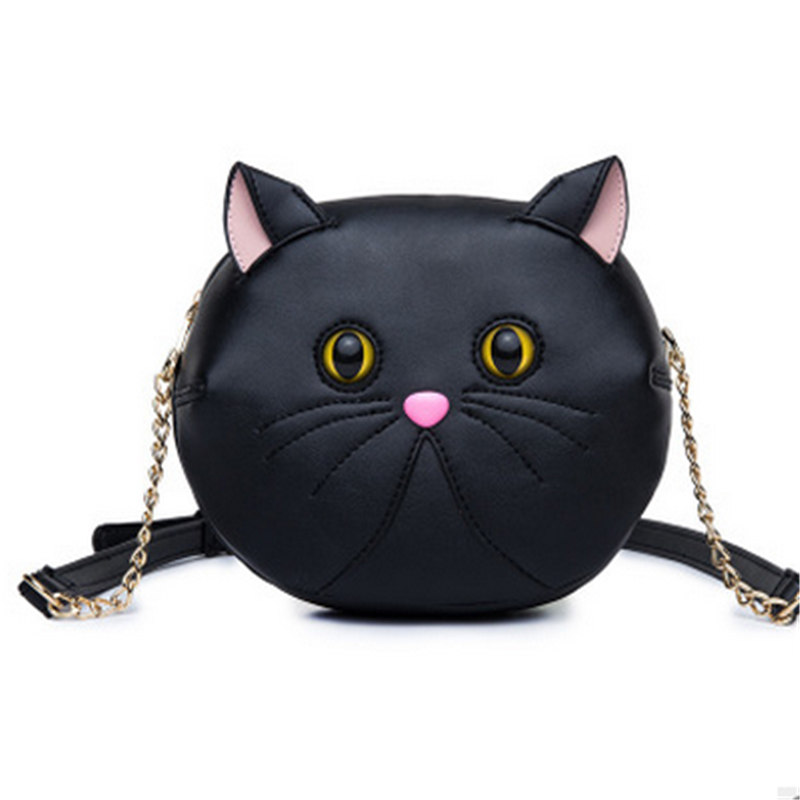 2018 Casual Girls Cute Kitten Cross Body Chains Bags Black Women Cat Single Shoulder Bags White Cartoon Leather Messenger Bags