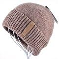 Invierno Gorros Beanie Sombrero de Punto para hombres de Color Sólido Caliente Suave Doble capa más gruesa de terciopelo capo Casquillo Gorro Tapas de Los Hombres de Las Mujeres