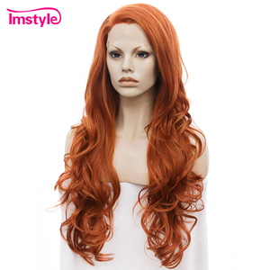 Image 2 - Imstyle Auburn Oranje Pruiken Lange Golvende Synthetische Lace Front Pruiken Voor Vrouwen Gratis Deel Hittebestendige Vezel Lijmloze Dames Pruik