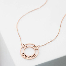 Personalized Roman Number Necklace Gold Color Round Pendant Custom Initial Customized Gift For Her