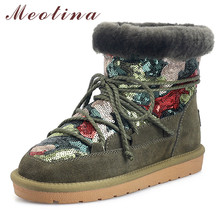 Meotina Winter Warm Wool Snow Boots Women Real Fur Flat Ankle Boots Cow Suede Mixed Colors Round Toe Shoes Female Big Size 34-43 недорого