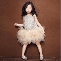 Fashion Fluffy 3 Layers Dress Girls Kids Princess Lace Dresses Party Sleevesless Pageant Children Costumes Clothes
