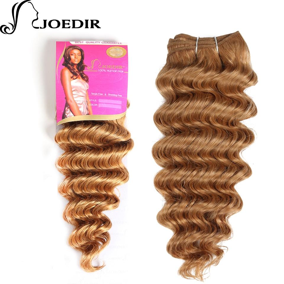 Hair Weaves Joedir Pre-colored Indian Deep Wave Human Hair Bundles 100g Honey Blonde Hair Weave 1 Bundle 27# Hair Extensions Wide Selection;