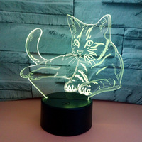 7 Colors USB Bedroom Home Decor Lovely Cat 3D Night Light LED Animal Table Lamp Bedside