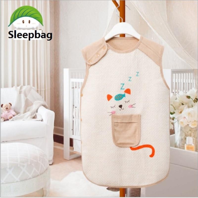 Newborn Boy Girl Sleeveless Baby Sleeping Bag Sleep Sack Cute Cartoon 100% Organic Cotton Warm Kids Sleepbag Sleepsack 0-5Years