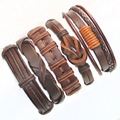 5pcs brown wrap real leather bracelet men 2017 friendship Bracelets bangles for women pulseira masculina mujer bracciale uomo