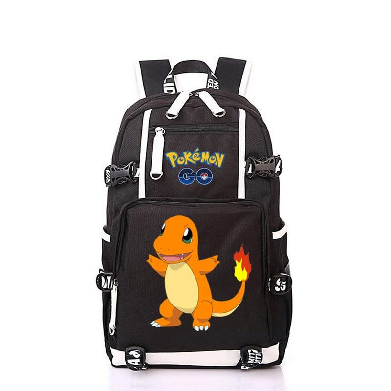 Women Men Anime Pocket Monster Gengar Charmander Backpack Rucksack Mochila Schoolbag Bag For School Boys Girls Student Travel