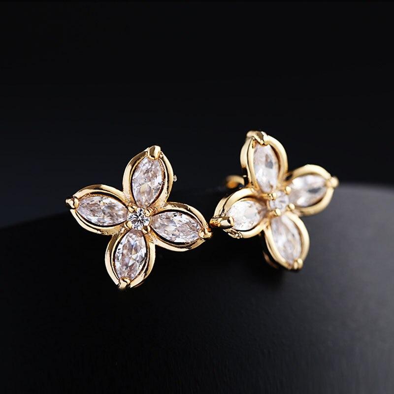 Pendientes de circonia cúbica para mujer, aretes de flor de cuatro hojas, aretes de piedra de cristal de alta calidad, joyería 2019