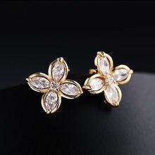 Mode Zirkonia Vier Blatt Blume Ohr Clip Ohrringe Hohe Qualität Kristall Stein Ohrringe Für Frauen Schmuck 2019