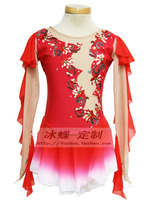 red figure skating dress competition dress for figure skating hot sale ice skating dress women free shipping Q242