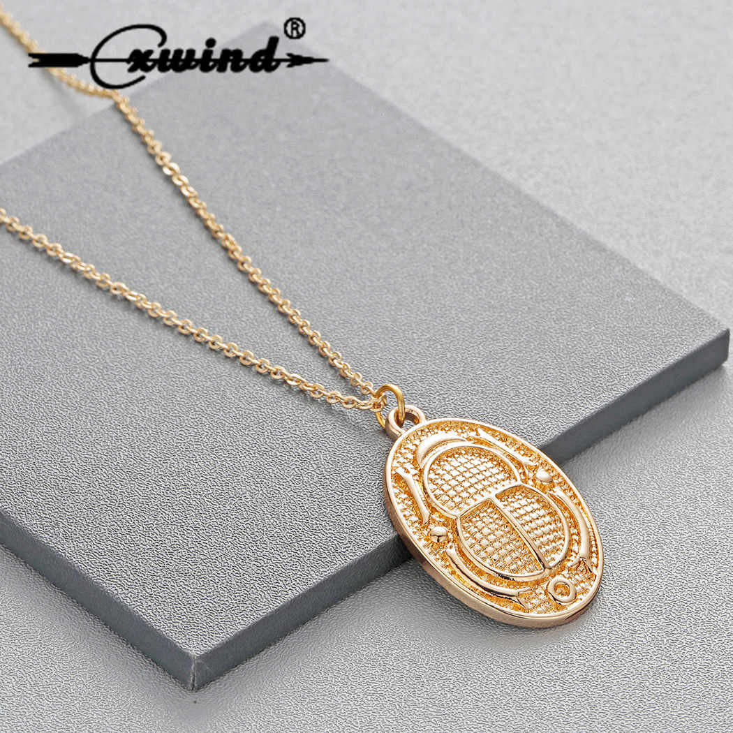 Cxwind Fashion Personalized Necklaces Ancient Egyptian Hieroglyph Cartouche Scarab Beetle Charm Pendant Necklace Jewelry