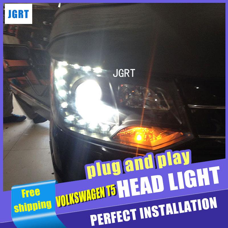 Car Styling  Headlights 2010-2014 for VW T5 DoubleU Angel Eye LED DRL Lens Double Beam H7 HID Xenon bi xenon lens grinda 8 424052 z01