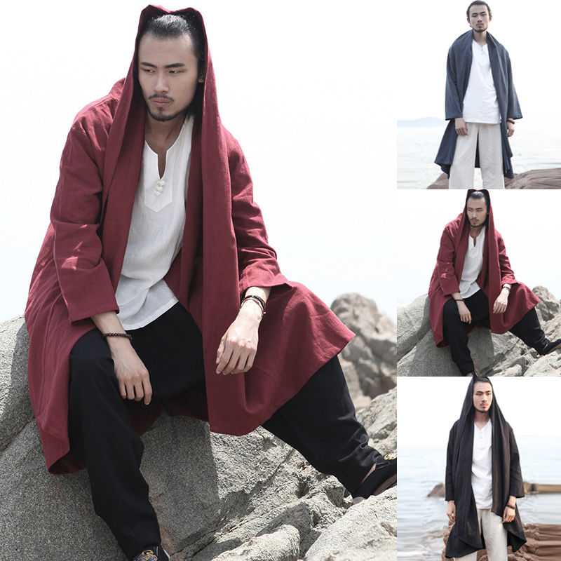 Men's   Trench   Long Cardigan Long Sleeve Lapel Hooded Cloak Cape Men Vintage Autumn Chinese Style Solid Loose Outerwear Coat 2018