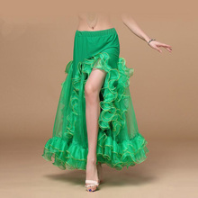 Hot-sale side-Split belly dancing Skirt Sexy stage performance Skirts for Women bellydance skirt good quality 5 colors