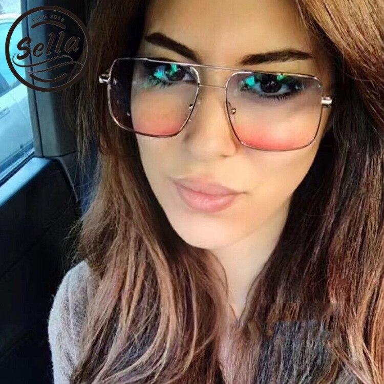 Sella moda pequeña plaza gafas de sol colorido tinte lente gafas de sol tendencia hombres mujeres gradiente película transparente gafas de desgaste