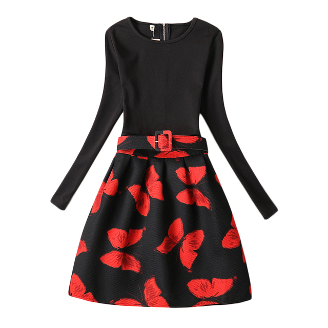 Flower Girls Dress Red Butterfly Print Long Sleeve Black Dresses Family Mathcing Outfits Mother Daughter Casual Vestidos GD100C