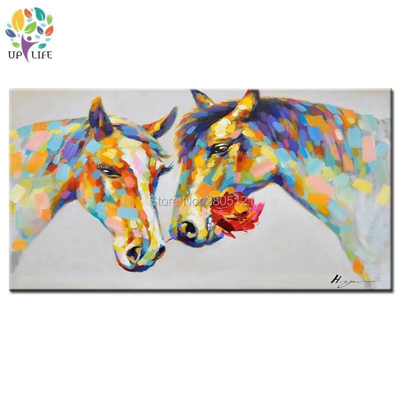 100% ručně malované milence koně s květinovým plátnem nástěnné malby Vysoce kvalitní olejomalby Abstraktní moderní nástěnné dekorace umění