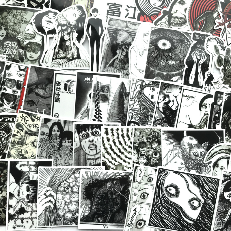 Image 2 - 56Pcs Horror comics Stickers Japanese ITO leap second Decal For Snowboard Laptop Luggage Car Fridge Car Styling Vinyl Home-in Stickers from Toys & Hobbies