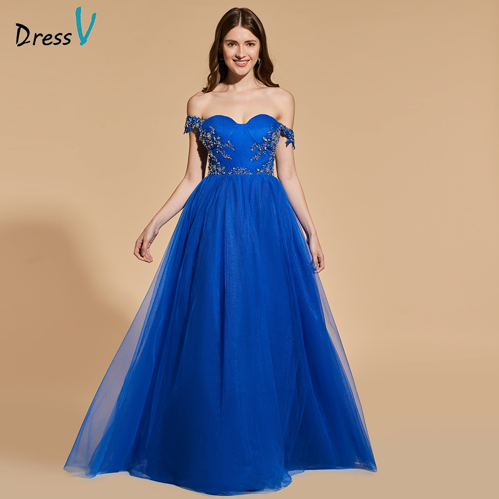 Dressv royal blue appliques long prom dress off the shoulder empire waist  simple a-line beading evening party gown prom dresses db80102bbdc5