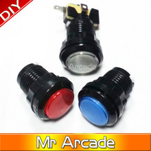 Free shipping 24mm illuminated 12v LED Arcade Push Button with microswitch 5 colors 3pins microswitch or 2pins microswitch 1pcs(China)