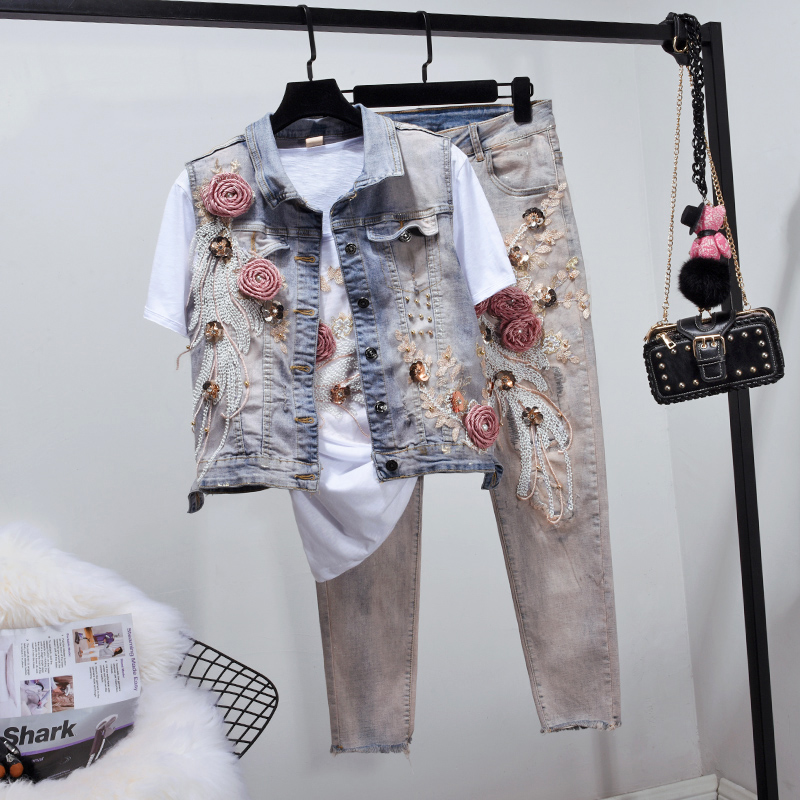 2019 Spring Summer New Jeans Set Women's Two Piece Sets Sequined Embroidered Denim Waistcoat + Slim Jeans Plus Size Shorts Suit