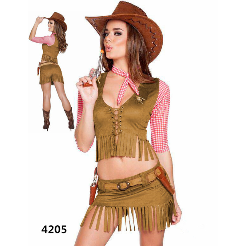 <font><b>Sexy</b></font> Costume police Uniform <font><b>Halloween</b></font> Policewomen Cosplay Fancy Dress Cowgirl Cosplay Western Dress Suit Carnival <font><b>Adult</b></font> Costumes image